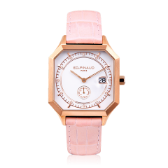 Sport watch - PG PVD steel Case, 12 Diamonds, Lotus Pink Leather Strap
