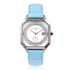 Sport watch - Steel Case, Diamonds Circle, Riviera Blue Leather Strap